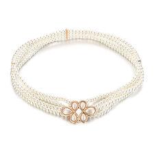 Womens Waist Belt Pearl Designed Flower Buckle Girls Elegant Fashion Charm 817
