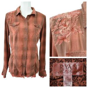 Ryan Michael Women Western Shirt Snap Silk Cotton Embroidered Floral Flame Sz XL