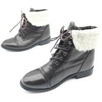 Cutie Woman's Ladies Fur Lined Ankle Boots Dark Brown Lace Up Size EU 37, UK 5