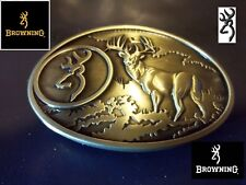 Browning Belt Buckle midsize bronze color Deer Country hunting fishing