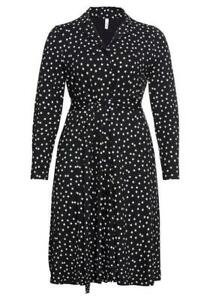 Sheego Damen Blusen Tunika Kleid mit Pünktchendruck Langarm schwarz Größe 44