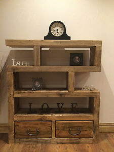 CHUNKY RUSTIC SOLID WOODEN SHELVING UNIT  BOOKCASE  WAX FINISHED