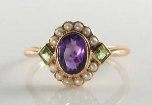 SUFFRAGETTE 9CT 9K ROSE GOLD AMETHYST PERIDOT PEARL ART DECO INS CLUSTER RING