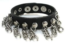Black Genuine Leather Bracelet with Hanging Chains High Quality Made in the USA