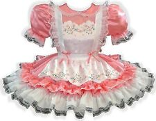 """""""Hailey"""" Custom Fit Pink Satin Pinafore Adult Little Girl Sissy Dress LEANNE"""