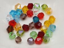 100 pcs Mixed Color 6mm Faceted Bicone Bead Crystal Glass Loose Beads