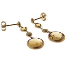 Orecchini in oro giallo 14 kt. 585 da donna pendenti ragazza con quarzo citrino