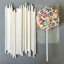 "6"" White Paper Lollipop Sticks, Paper Cake Pop Sticks, Paper Sucker Sticks"