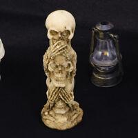 Speak Hear See No Evil Skull Skeleton Statue Figure Gothic Halloween Home Decor