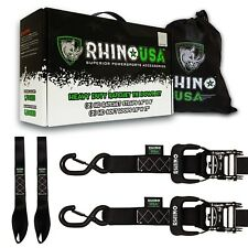 RHINO USA Ratchet Straps Motorcycle Tie Down Kit 2-Pack (Black)