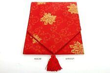 180 cm Glitter Christmas Table Runner - Red & Gold Poinsettia  ~ 81R5121 SALE