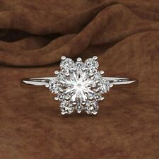 925 Silver White Topaz Snowflake Women Jewelry Wedding Engagement Ring Size 6