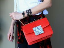 Red Genuine Python Leather Handbag by alis kass bag