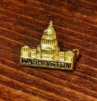 Vintage WASHINGTON Capital Gold Tone Lapel Hat Vest Pin