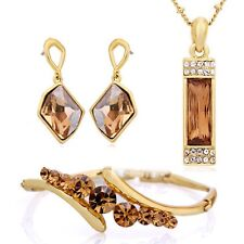 Swarovski Crystal Cognac Gold Handmade Necklace Earring Bracelet Set DF100 $279