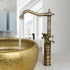 Antique Brass Bathroom Basin Faucet Vessel Sink Dual Handles Tall Mixer Taps