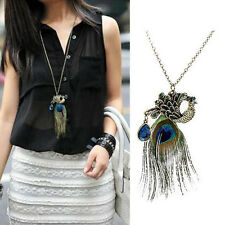Womens Retro Vintage Peacock Feather Pendant Charm Long Chain Sweater Necklace