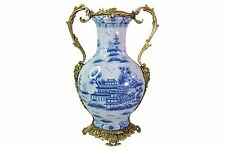 "Blue and White Porcelain Blue Willow Trophy Vase 17"" Ormolu Handles"