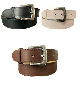 Men's Genuine Leather Belt Double Stitched Lining Single Prong Removable Buckle