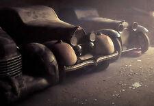 Enmarcado impresión-Vintage Coches alineados en un garaje polvoriento (antiguo arte de imágenes del vehículo)