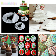 3Pcs Christmas Tree Plunger Cookie Cutter Cake Decor Biscuit Mold Mould Tools
