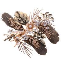 Retro Golden Flower Leaf Rhinestone Crystal Hair Clip Wedding Jewelry Gifts