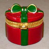Christmas TRINKET BOX Ornament Ceramic Present Opens Red Green Bow USA SELLER