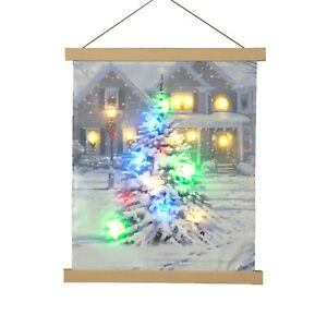 Battery Operated LED Hanging Canvas Christmas House 40cm x 47cm