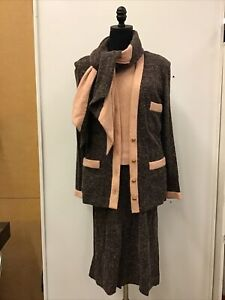 Vintage Chanel Brown/Pink Knit 4 Pc Skirt Suit See Description For Size