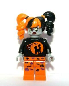 Lego Zombie Girl Minifigure Halloween Outfit Bat Pumpkin Cat Reversible Head