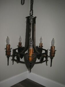 Vintage Medieval Gothic Wrought Iron Hanging Light Lamp Chandelier Sconce