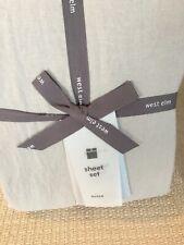 West Elm Belgian Linen Flax Queen Sheet Set Beautiful!! Dove Gray