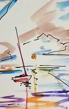 JOSE TRUJILLO Clouds American ORIGINAL Watercolor Painting ABSTRACT - 6X9