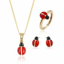 Xuping Ladybug Christmas18k Gold-Filled Red and Black Ladybug Necklace Jewelry