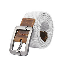 Fashion Men'S Stripe Belts Casual Belt Buckle Thick Canvas Leather Belt New