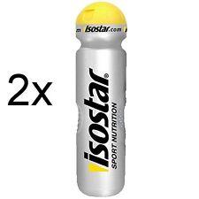 2x Trinkflasche Isostar 1000ml 1 Liter Silber Trinkflaschen Wasserflasche Klapp