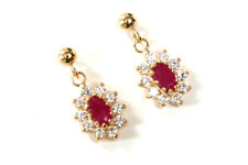 9ct Gold Ruby and Cubic Zirconia Drop earrings Made in UK Gift Boxed