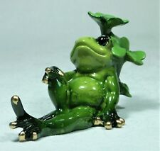 "Frog Figurine Alabastrite FROGPADL ""B"" Resting Relaxing against a Clover NEW"