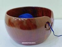 Wooden Bowl Yarn Storage Handmade Knitting Crochet Wood Crafted