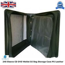 2 x  240 Sleeve CD DVD Wallet Holder DJ Bag Storage Case PU Leather Ring Binder