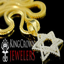 Real Yellow Gold Silver Star Of David Jewish Mini Pendant Chain Set Simu Diamond