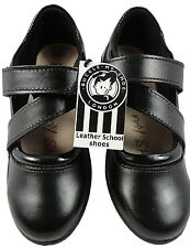 GIRLS BLACK LEATHER MARY JANE SOFT CLOSE STRAP SCHOOL SHOES BUCKLE MY SHOE