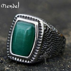 MENDEL Mens Stainless Steel Green Stone Bold Ring For Men Size 7 8 9 10 11 12 13