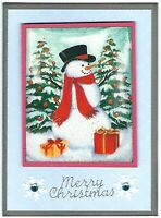 CHRISTMAS Holiday Greeting Card - SNOWMAN PRESENTS - Handmade From Recycle