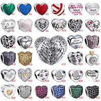 Fashion Heart Shape Zircon Bead Love Charm Jewelry For 925 Silver Bracelet Chain