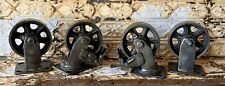 """4 Huge 5"""" Industrial Iron Casters WIth Brake Modern steam Punk for cart"""