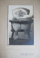 Vintage 1921 Paper Folded Frame Photo Chubby Fat Cute Baby High Chair Portrait