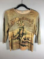Jamee J Golden Wheat Brown Graphic Cowgirl Shirt Women Sz Medium Used Mint Cond
