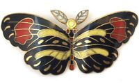 VINTAGE BUTTERFLY MOTH BROOCH ENAMEL DETAIL GOLD TONE METAL INSECT JEWELRY PIN