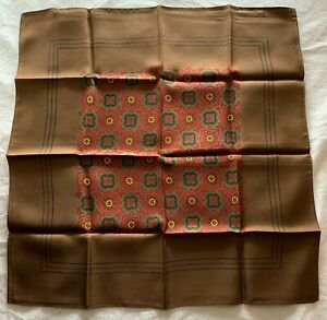 Vtg Silk Pocket Square Chocolate Brown Made in England 17 x 17 Red Green Floral